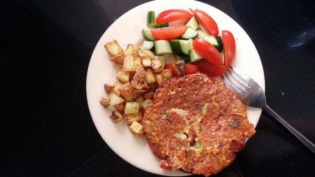 Vegan Tomato Cilantro Omelette