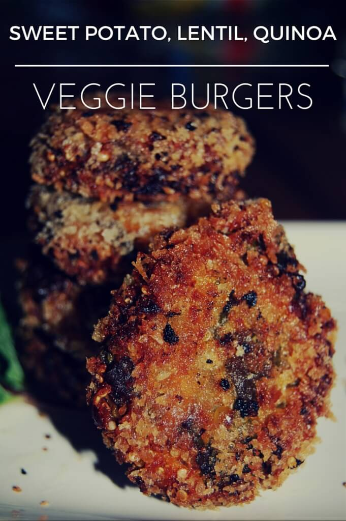 Vegan crispy burgers with sweet potato, lentils, quinoa, spinach & herbs