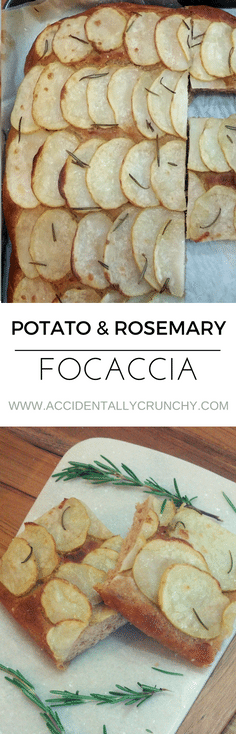potato and rosemary focaccia and potato pizza recipe | find more healthy, delicious, clean eating recipes at accidentallycrunchy.com