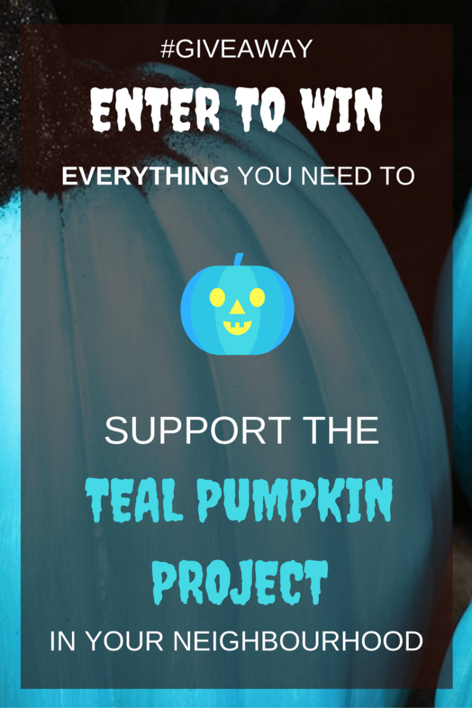 Teal Pumpkin Project #Giveaway! Win everything you need to promote a safe and inclusive halloween for kids with food allergies in your neighbourhood. Accidentally Crunchy and Oriental Trading are partnering up to give one winner a kit with everything you and your neighbours need to make your own teal pumpkin decorations to mark participating houses, plus more than 200 kid-approved, non-food treats for you and your neighbours to hand out