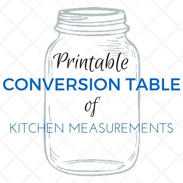 Conversion Table Printable Kitchen Measurements