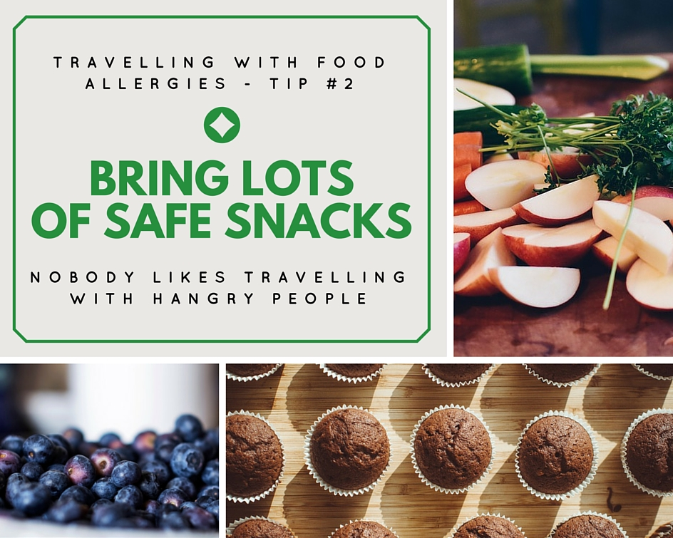 Ten Tips for Traveling with Food Allergies - Tip - pack snacks for the flight | find more tips at accidentallycrunchy.com