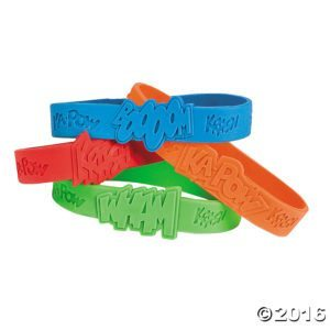 superhero sayings bracelets will appeal to the superhero in any little girl or boy. In a variety of colours, these rubber bracelets from Oriental Trading will be used long after Halloween has ended