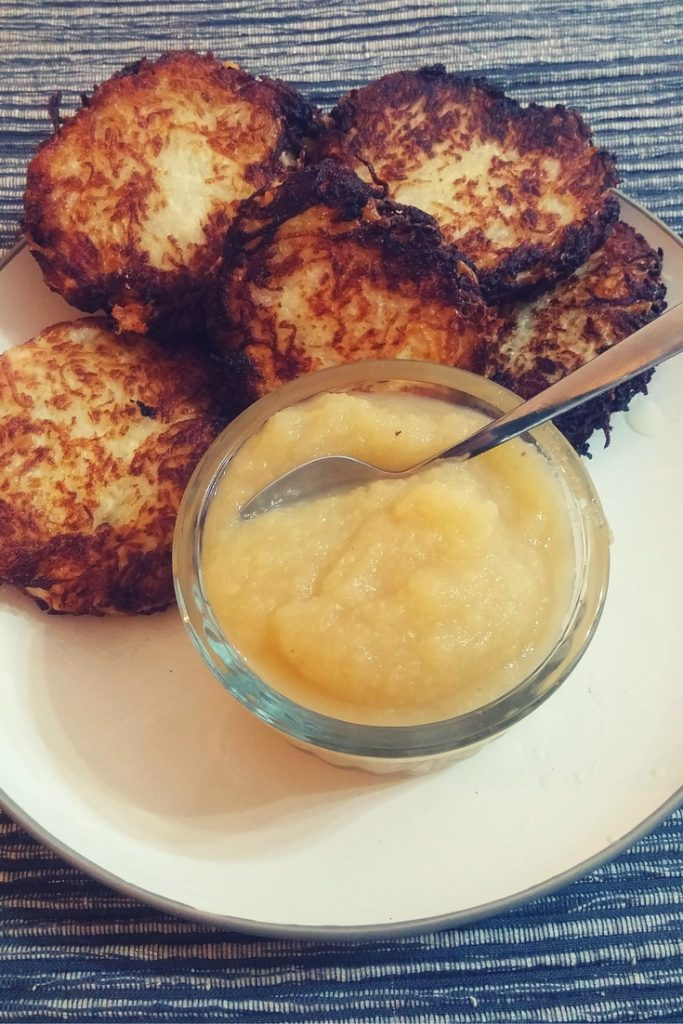 these potato apple latkes are the best vegan potato latkes you will ever eat | find more holiday recipes on accidentallycrunchy.com