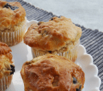 These deliciously moist and fluffy lemon blueberry muffins are gluten-free, vegan and nut-free, so that everyone can enjoy them! | Find more allergy friendly recipes at accidentallycrunchy.com